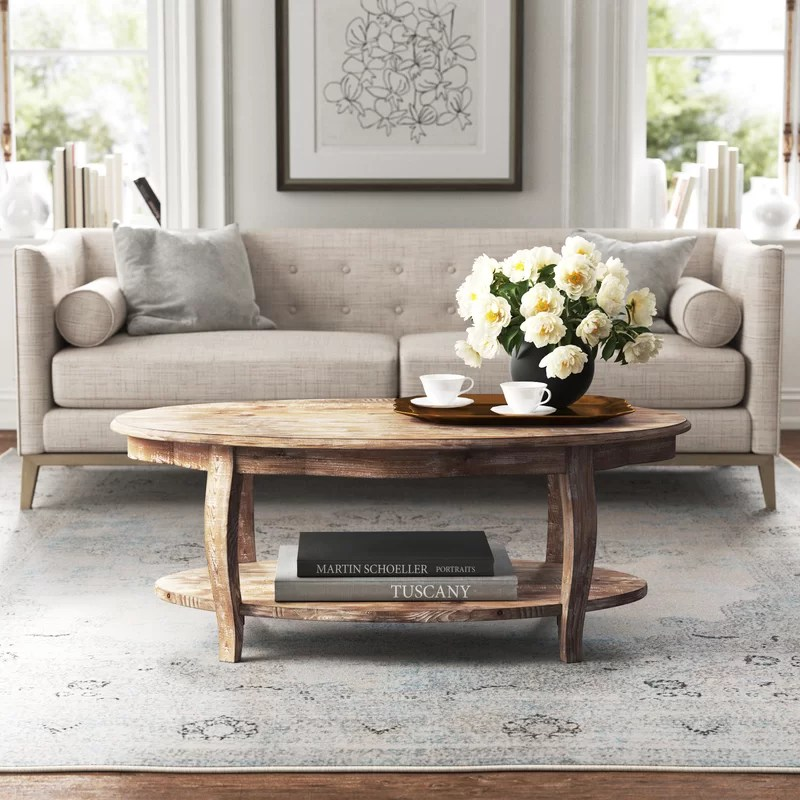 francoise solid wood coffee table with storage