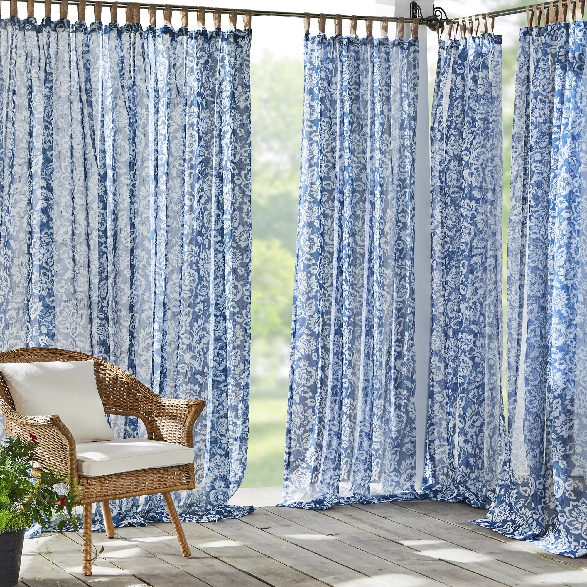 bovey floral sheer tab top single curtain panel