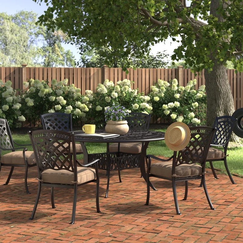 wildermuth round 6 person 60 long dining set with cushions