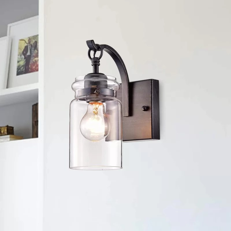 Pitchford 1 - Light Dimmable Antique Black Armed Sconce