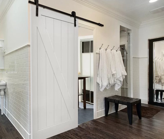 Single Stile And Rail Z Planked Mdf  Panel Interior Barn Door With Hardware