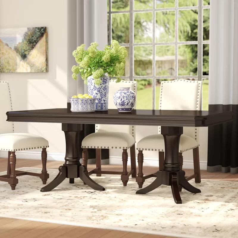 alcott hill rheems extendable solid wood dining table on solid wood dining table id=29302