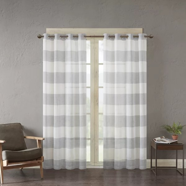 grey and white curtains