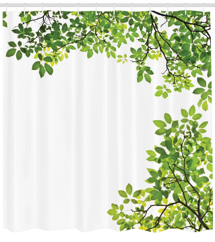 leaves shower curtain set hooks