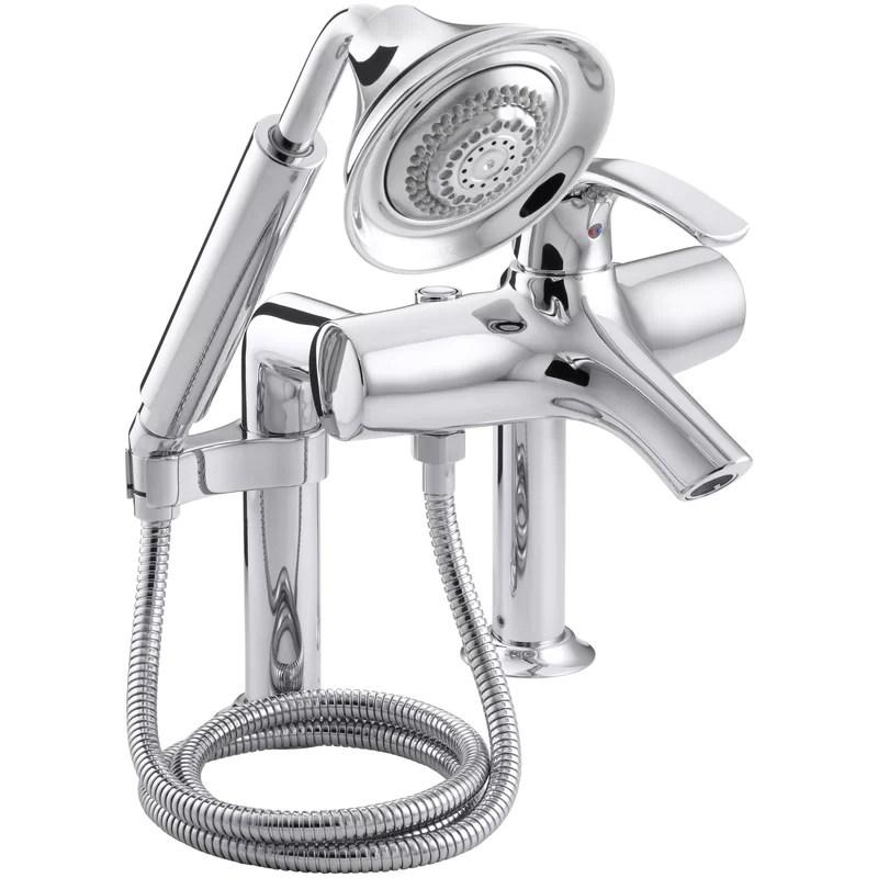 symbol deck mount bath faucet with diverter spout and handshower
