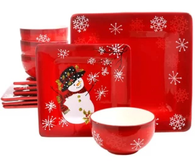 Cuomhouse Snappy Snowman  Piece Dinnerware Set Service For