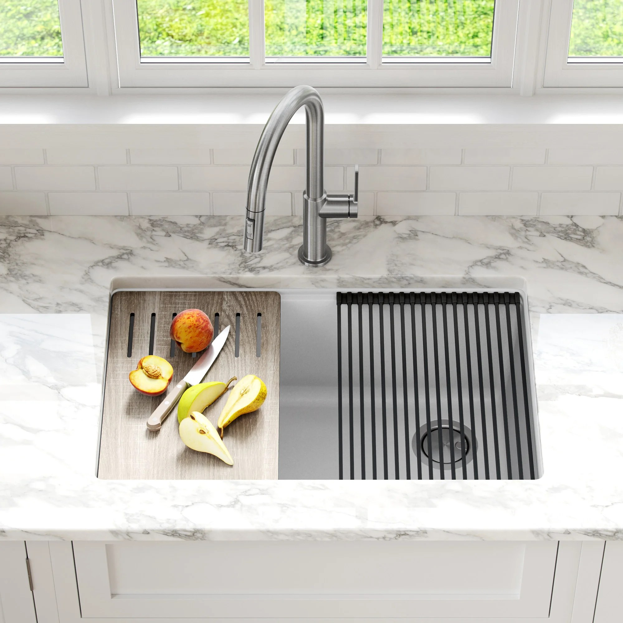 kraus bellucci workstation 30 inch undermount granite composite single bowl kitchen sink in white with accessories kguw1 30wh