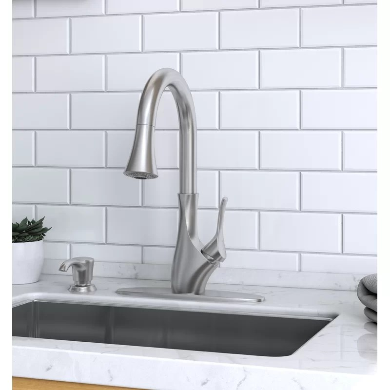 pfister f 529 7tgs tegley 1 handle pull down kitchen faucet with soap dispenser in spot defense stainless steel