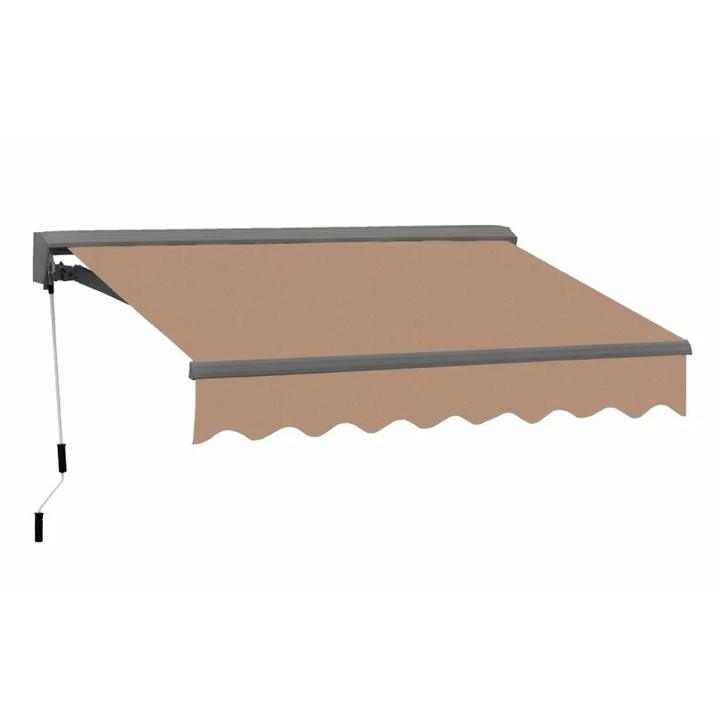 classic metal retractable dual wall soffit woven acrylic patio awning