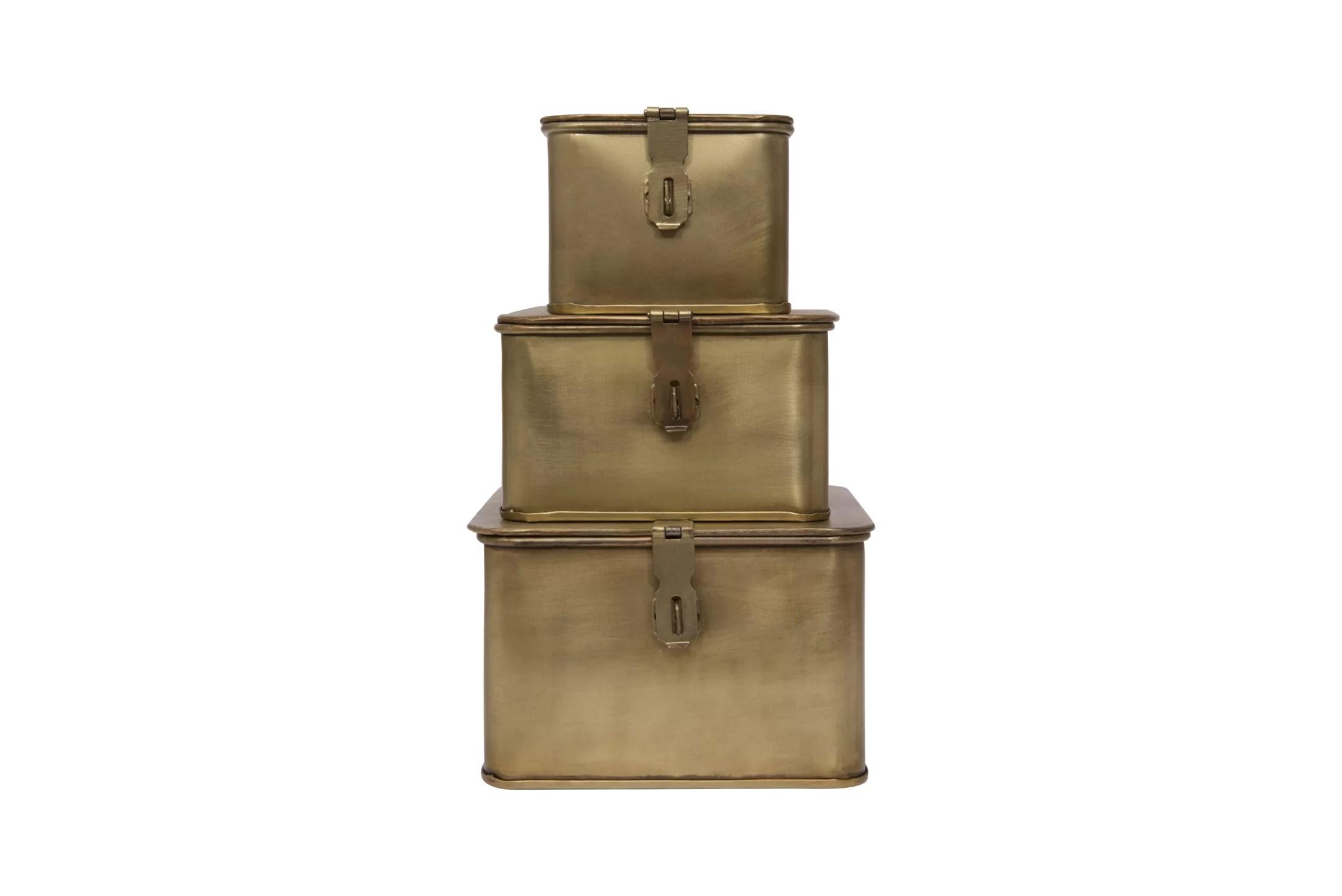Charlton Home Brack 3 Piece Square Metal Decorative Box Set Wayfair
