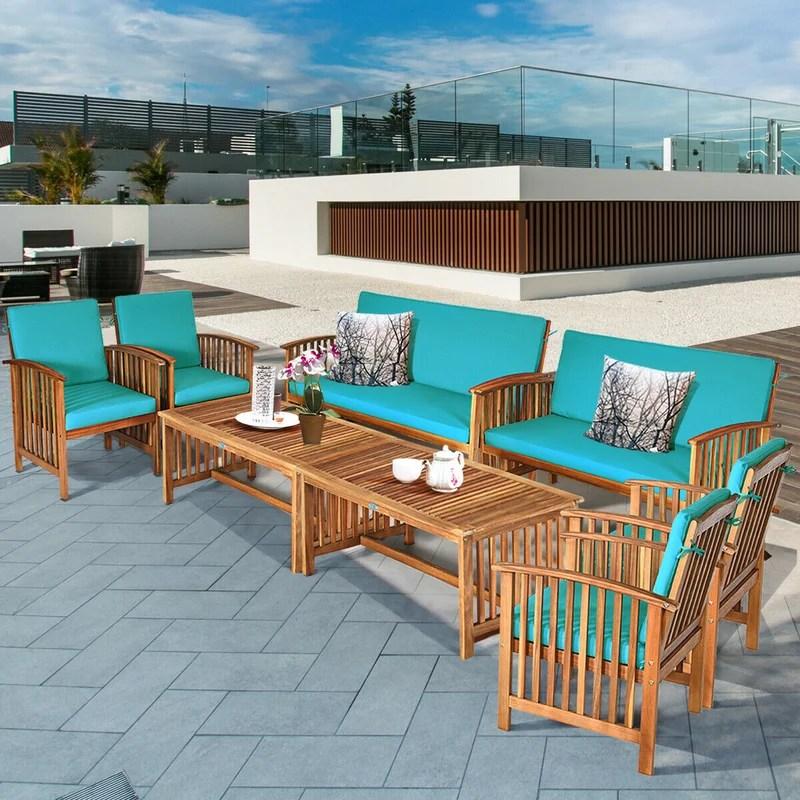 red barrel studio 8pcs wooden patio conversation set outdoor furniture set w cushions white