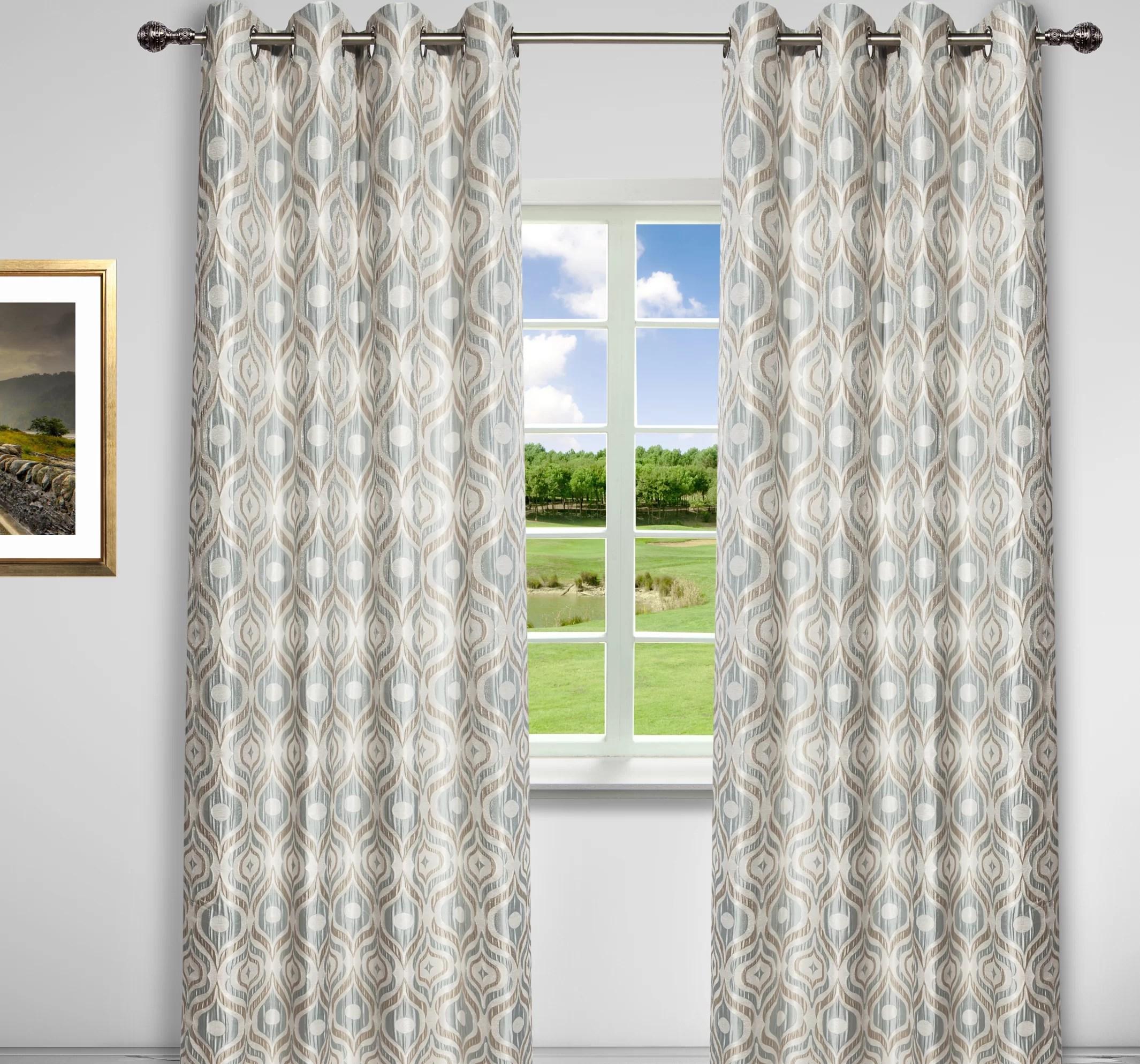 watson geometric room darkening thermal grommet curtain panels