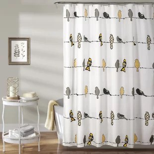 blue yellow gold shower curtains