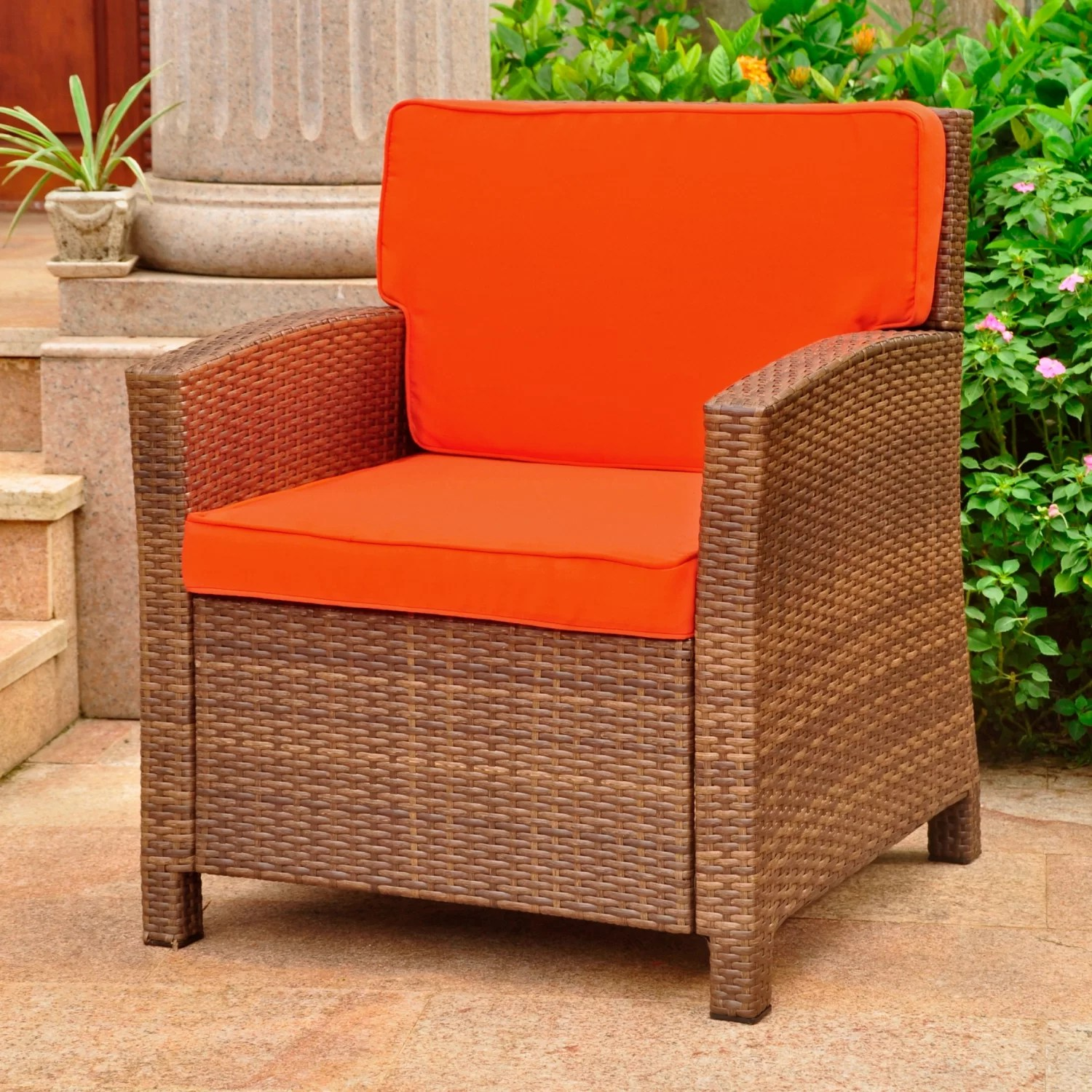 stapleton wicker resin patio chair with cushions