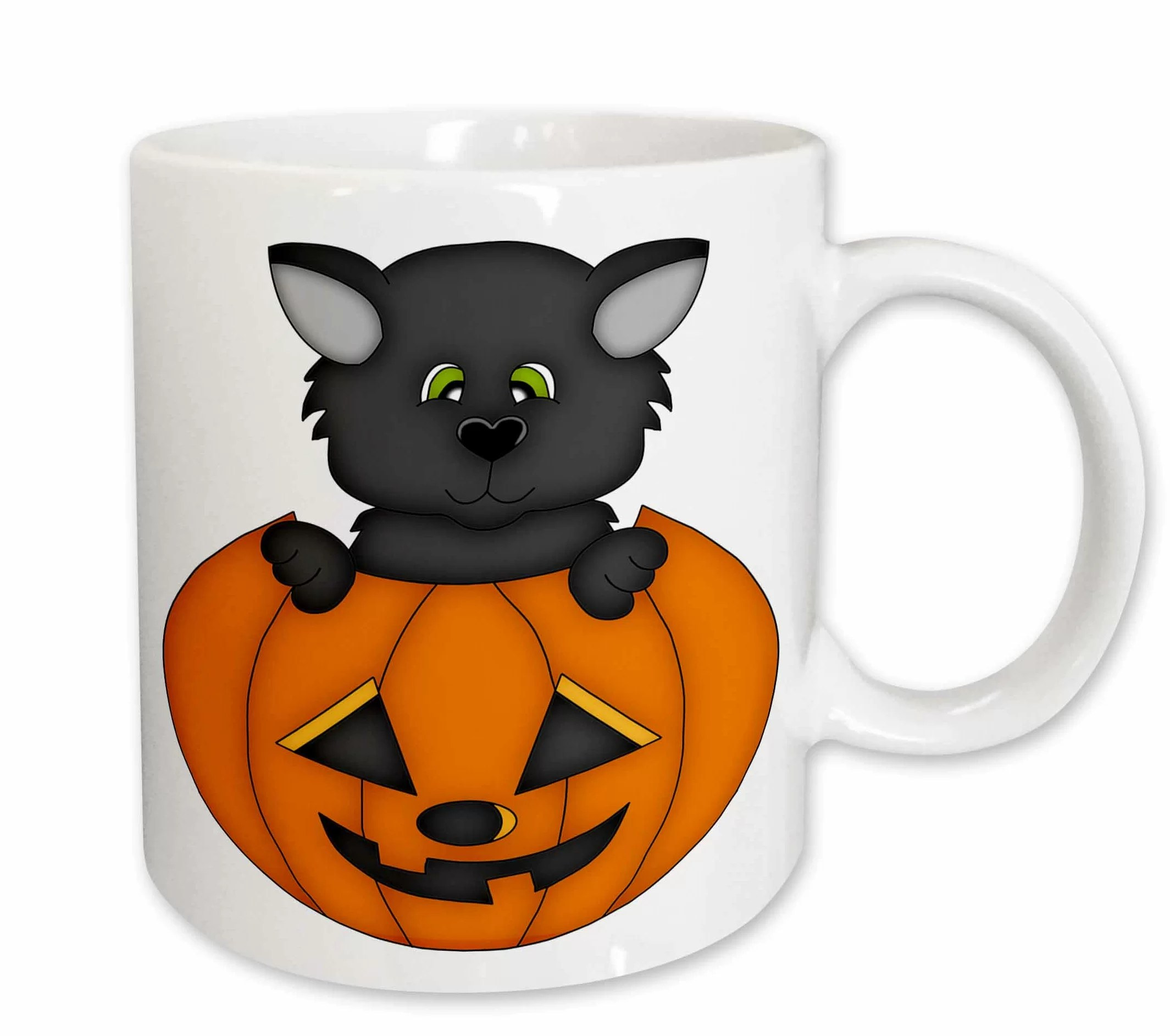 The Holiday Aisle Tate Cute Halloween Cat In A Pumpkin Illustration Coffee Mug Wayfair