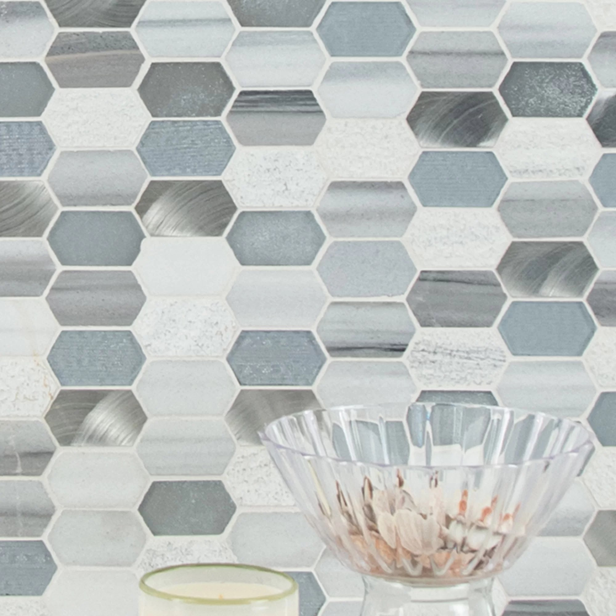 harlow picket glass stone mosaic tile in gray