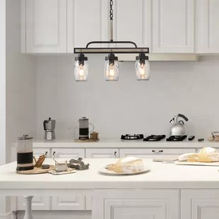 murrow 3 light kitchen island linear pendant with wrought iron accents