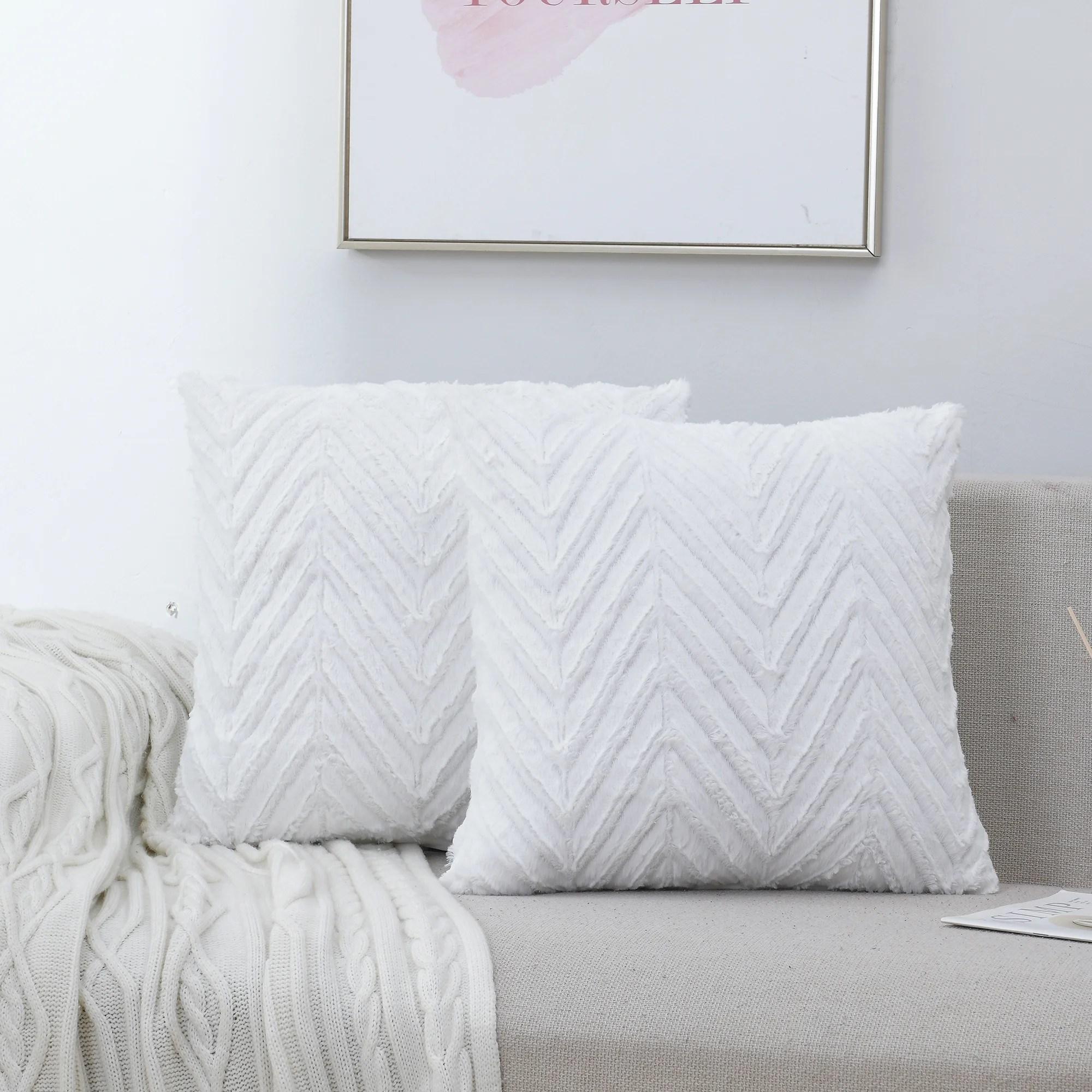 square faux fur pillow cover