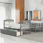 Harriet Bee Twin Over Full Twin Bunk Bed With Staircases And Drawers Convertible Bunk Bed For Child Gray White Wayfair