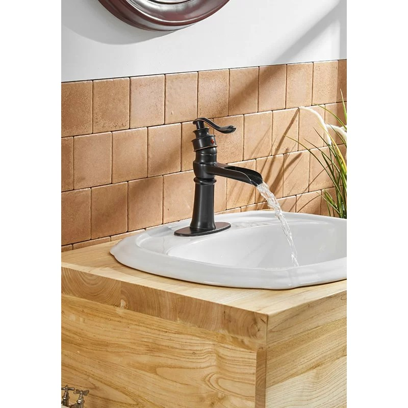 dfi oil rubbed bronze bathroom sink faucet waterfall single handle one hole lavatory deck mount commercial