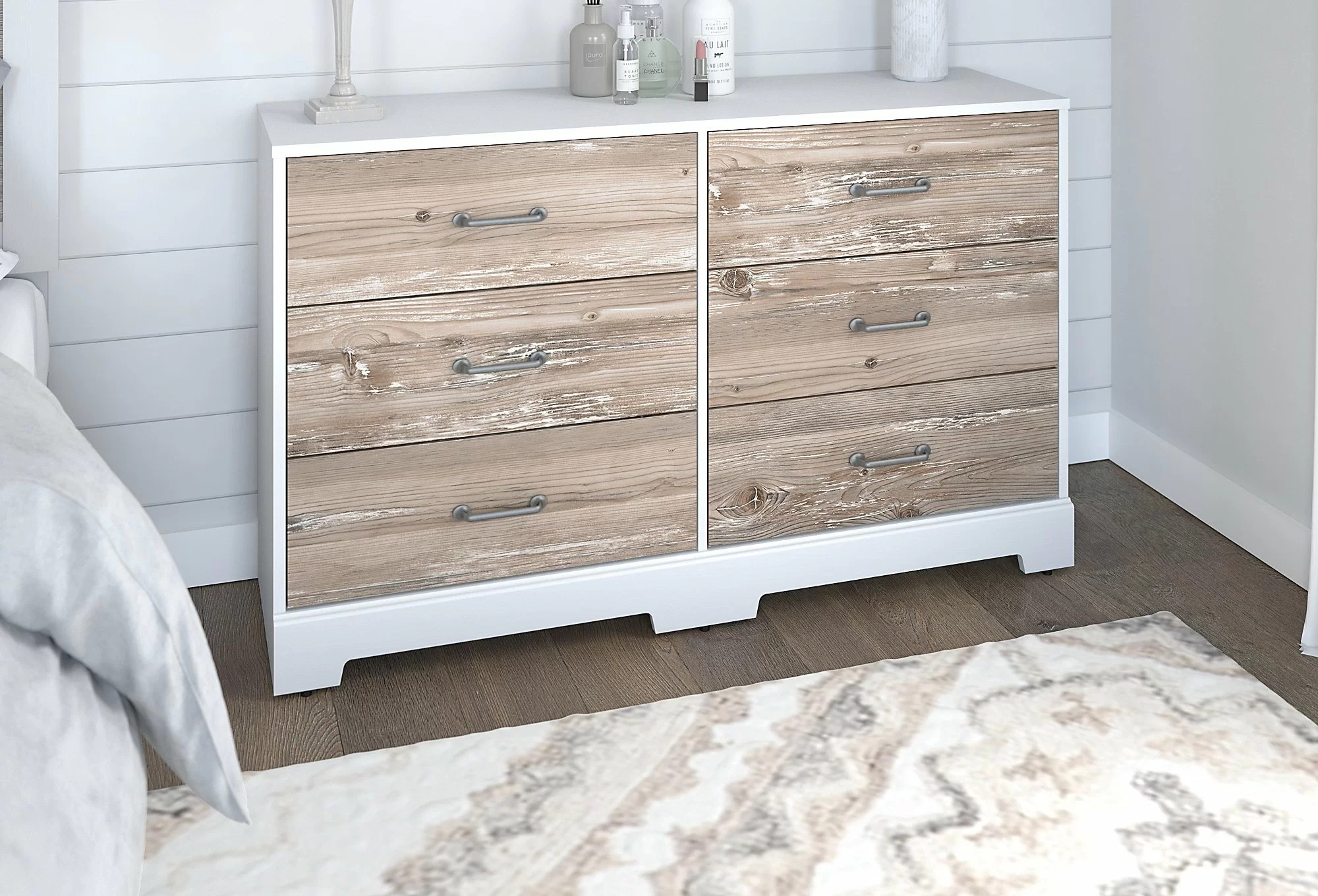 modern white double dresser 6 drawer