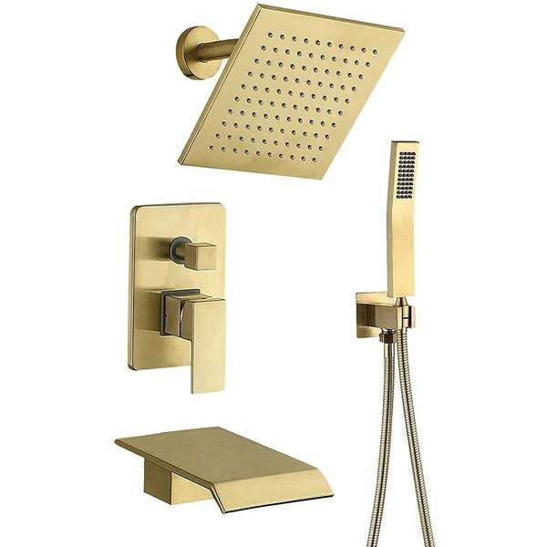 brushed gold shower faucet