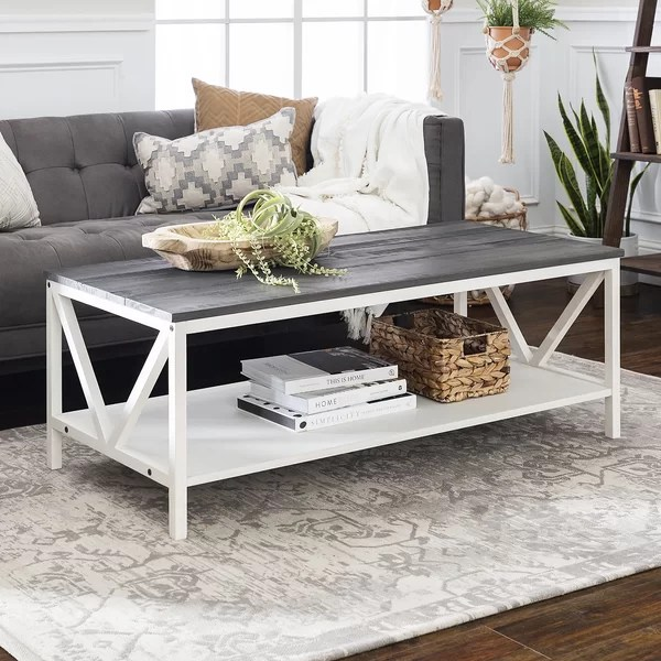 cream distressed coffee table