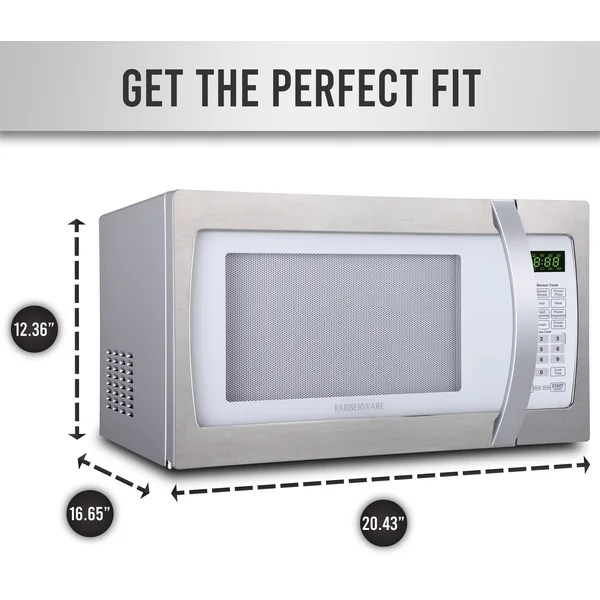 farberware 20 43 1 3 cubic feet cu ft 1100 watt watt countertop microwave with sensor cooking