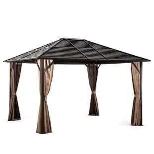 10 x12 patio outdoor hardtop gazebos with mosquito net and curtains