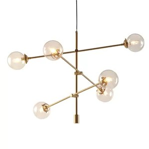 Cyrus Sputnik Modern Chandelier With 6 Oversized Bulbs Antique Gold Finish