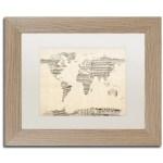 Trademark Art Old Sheet Music World Map Framed Graphic Art On Canvas Wayfair