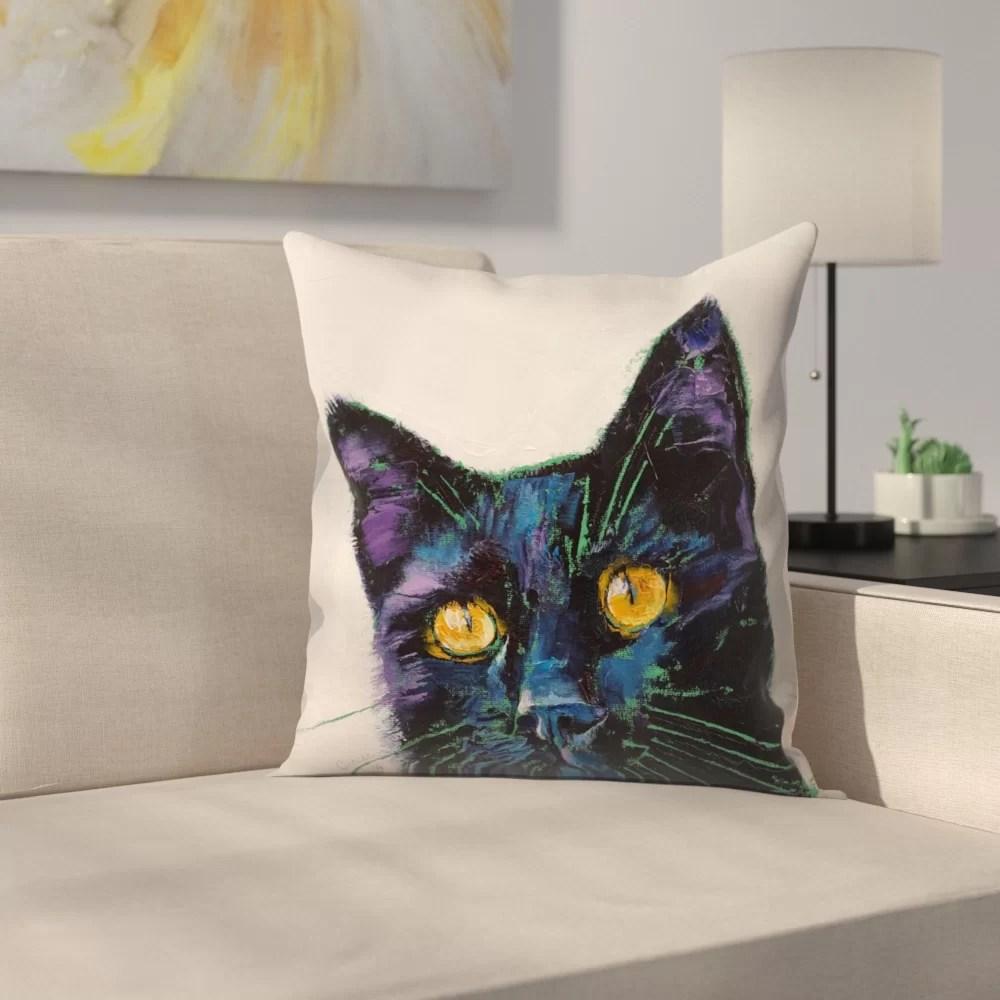 michael creese killer cat throw pillow