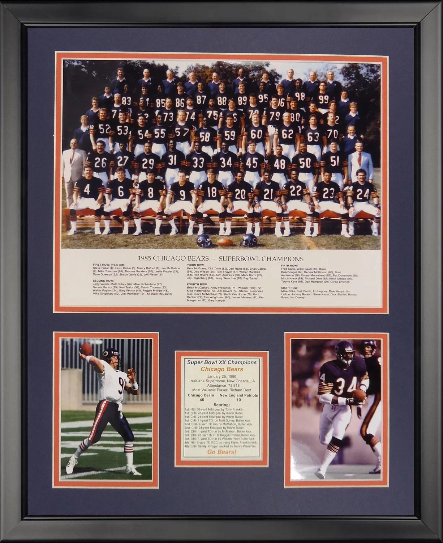 nfl chicago bears 1985 bears framed memorabili