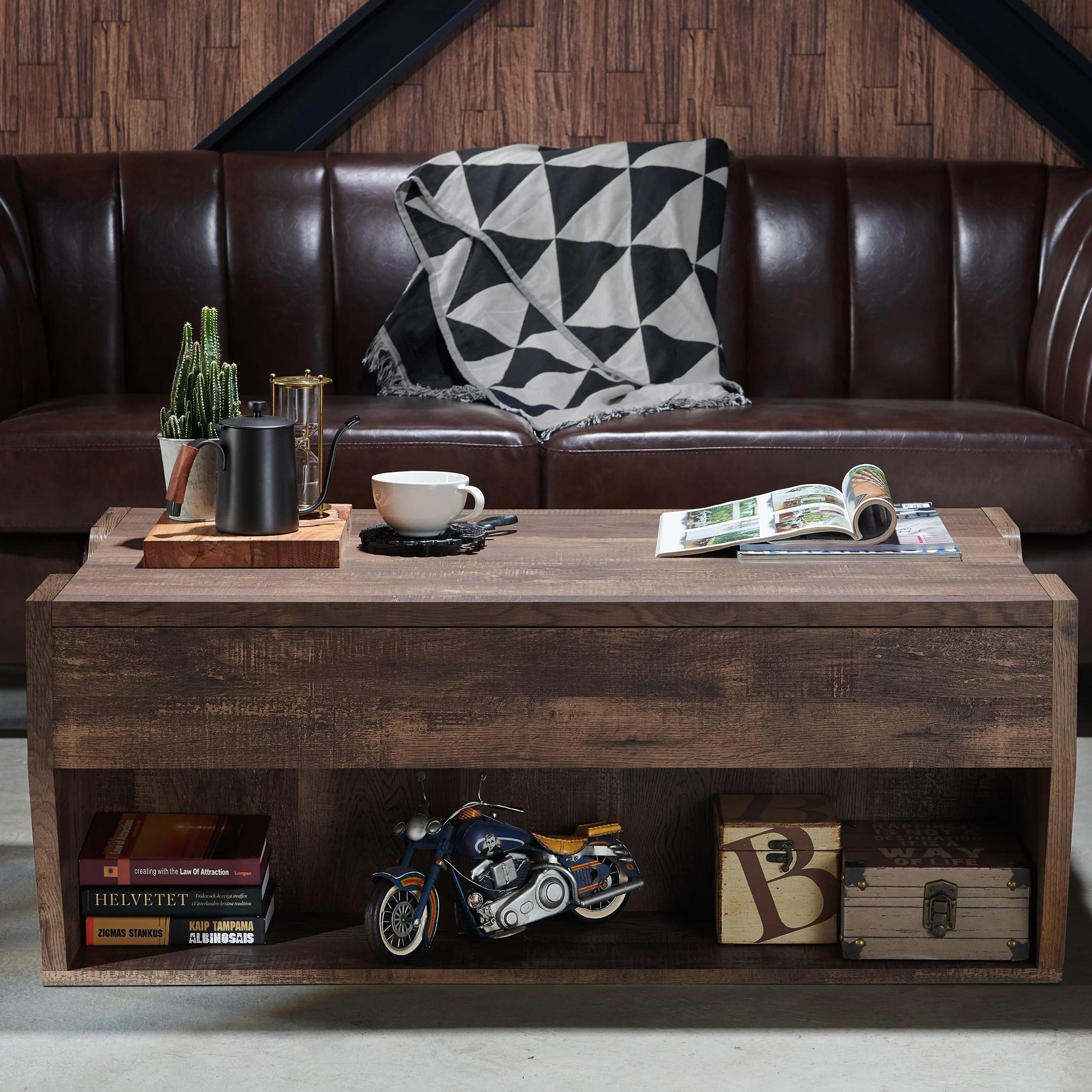 macsen lift top floor shelf coffee table with storage
