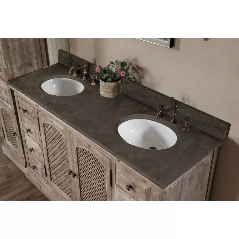 Beaut Farmhouse Colors For Bath Vanity, Clemmie 61 Double Bathroom Vanity Set With Linen Tower