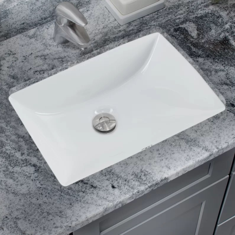 soleil glazed vitreous china rectangular undermount bathroom sink