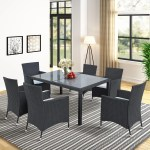 7 Pieces Outdoor Wicker Dining Set Patio Rattan Furniture Set With Beige Cushion