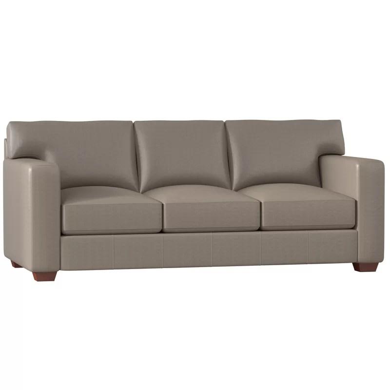 pratt genuine leather 88 square arm sofa