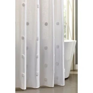 tahari home grace white tufted ombre dot shower curtain