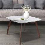 Ivy Bronx Hulda 31 Square Italian Carrara White Marble Coffee Table