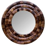 Varaluz Wine Country Reclaimed Wood Circular Rustic Beveled Accent Mirror Perigold