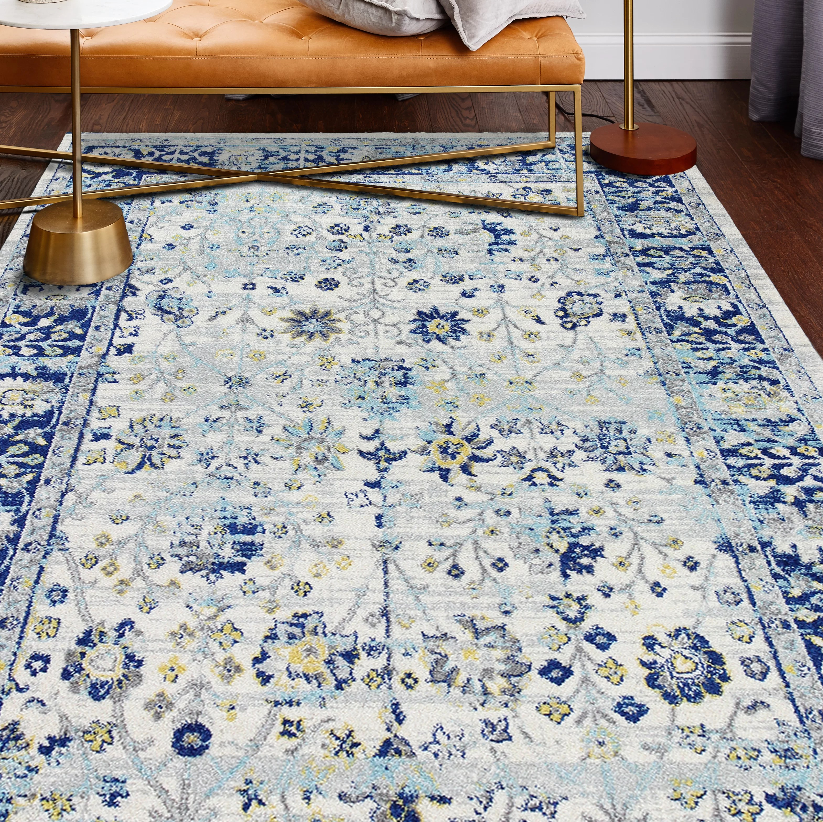 World Menagerie Chupp Ivory Blue Yellow Area Rug Reviews