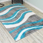 Orren Ellis Wold Shaggy Wave Turquoise Gray Area Rug Reviews