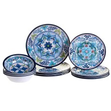 Bezu Heavy Weight 12 Piece Melamine Dinnerware Set, Service for 4