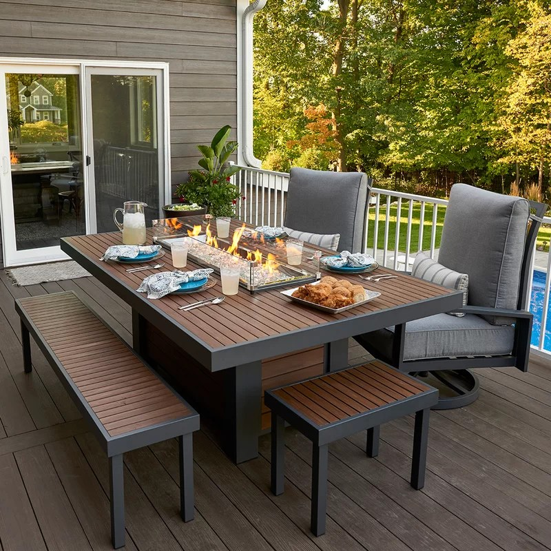 patio set with fire pit table