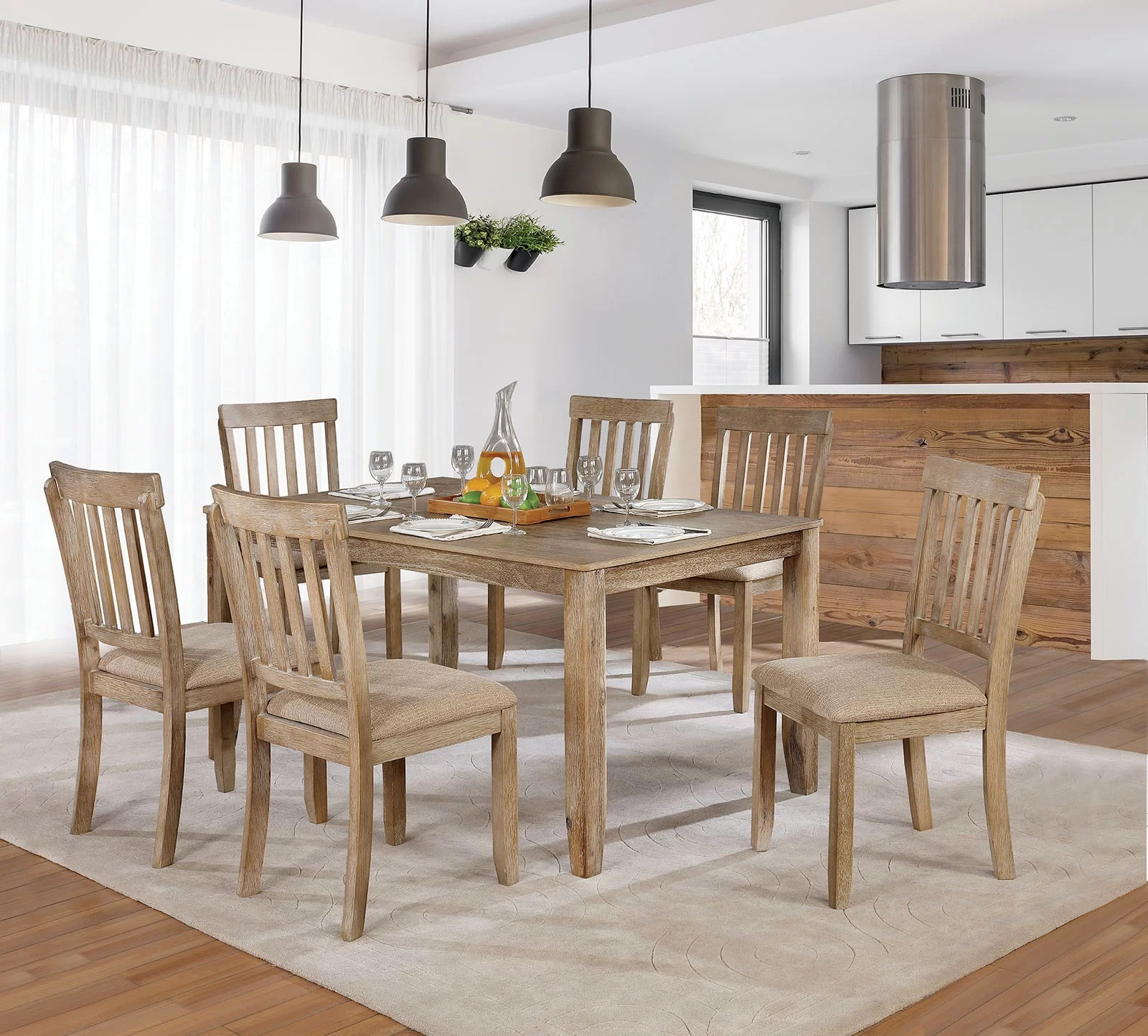 Loon Peak Orsi 7 Piece Dining Table Set Wayfair