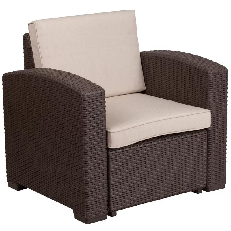 clifford faux rattan patio chair with cushion