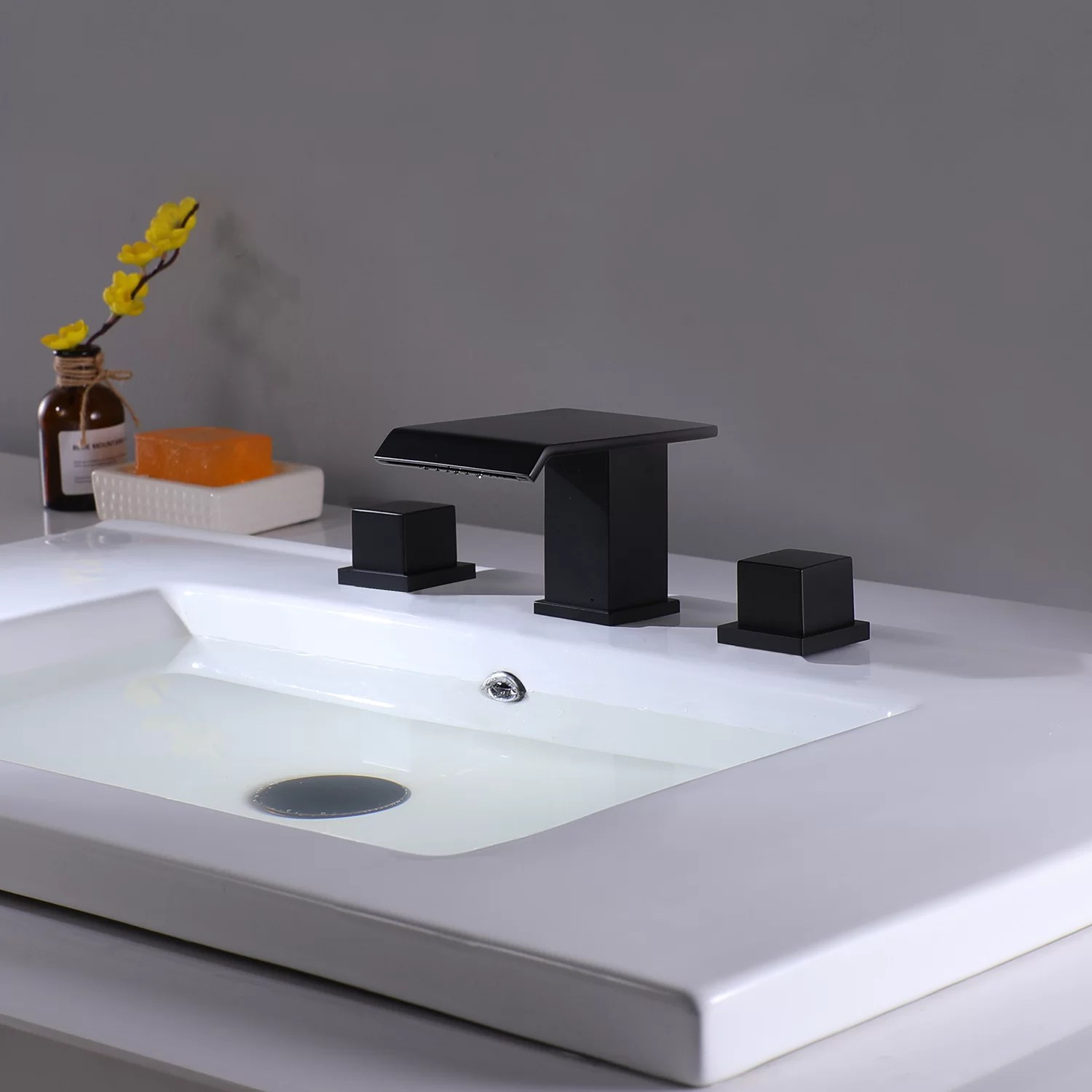 waterfall bathroom sink faucet in matte black 3 hole double square handles widespread black bathroom faucet