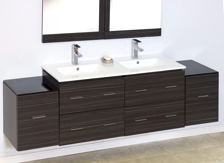 76 double modern wall mount bathroom vanity set