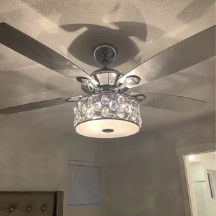 52 rupert 5 blade crystal ceiling fan with remote control and light kit included